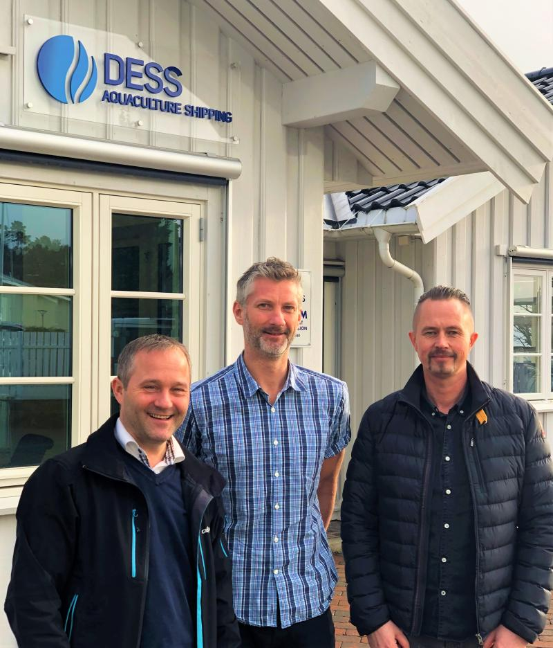 Espen Tolfsen, CPO at Globetech and Stein Erik Andersen, CTO at Globetech with Tommy Karlsen, Supply Chain Manager at DESS Aquaculture Shipping AS.